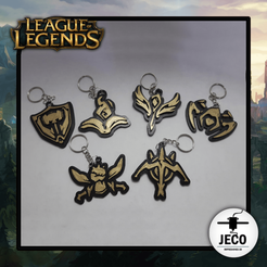 LOL ROLE.png Download STL file League Of Legends Keychain Role Icons • Model to 3D print, JECO3D