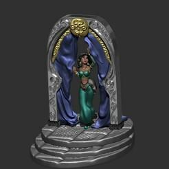 1.jpg Download STL file Print in place Disney model - JASMINE from Aladdin movie • 3D printable model, Zelgiust