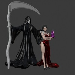 Diorama.jpg Download free STL file Sexy vampire lady and death specter • 3D print template, Zelgiust