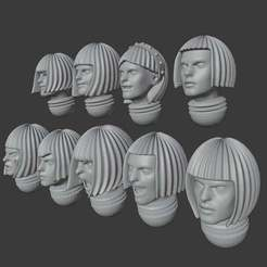 Download free STL file Nun heads with neurotic hair styles - printable • 3D print design, GRAYGAWR