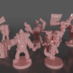 Download free STL file Ork soldiers with melee weapons and pistols set#4 • 3D print template, GRAYGAWR