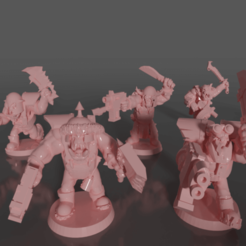 0301.png Download free STL file Ork soldiers with melee weapons and pistols set#3 • Design to 3D print, GRAYGAWR