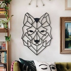 decoration-murale-metal-loup.jpg Download STL file Wall sculpture of wolf face 2D • Design to 3D print, DajouxTom