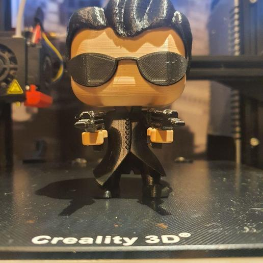 Download free 3D printing designs NEO FROM MATRIX FUNKO POP. MULTI COLOR PRINT WITH ONE EXTRUDER, marloquemegusta