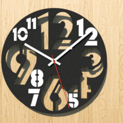 Modern Wall Clock v1 Two Colors - 01.png Download STL file Modern Wall Clock Two Colors • 3D printable template, Crashslider