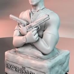 "EXP_Coffret_.jpg Download STL file Barney Ross Bust (The Expendables) ""ALS Printer"" • 3D printer template, tonitendo"