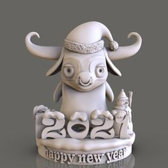bull-happy-new-year-3d-model-obj-stl.jpg Download STL file bull Happy New Year 3D print model • 3D printer model, jexes20092