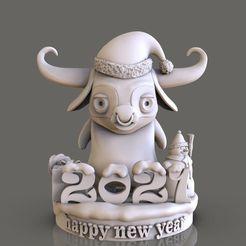 bull-happy-new-year-3d-model-obj-stl.jpg Télécharger fichier STL taureau Bonne année modèle d'impression 3D • Objet imprimable en 3D, jexes20092