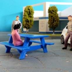 Table_Pique_Nique.JPG Télécharger fichier STL gratuit 1/43 Table de pique-nique - Picnic table • Design imprimable en 3D, MrJoce