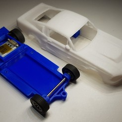 Preview1.jpg Download STL file Ford Mustang GT500 Eleanor Slot Car Chassis 3D print model • 3D printer template, SlotRacer