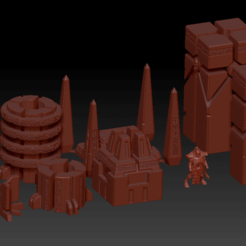 Preview1.png Download free STL file DoW Necron Buildings Terrain Set • 3D printer model, virusesofdeath