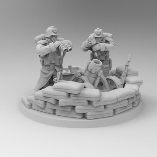 Descargar modelos 3D gratis Equipo de mortero de mortero de 28MM de combate de trinchera con armas pesadas, KrackendoorStudios
