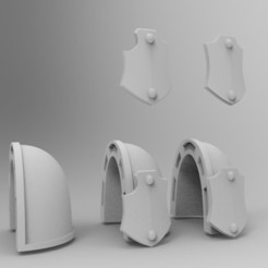 Download free 3D printer designs Blank Primaris Shoulder Pad with Shield, KrackendoorStudios