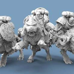 Wolves.1.jpg Download free STL file Viking Wolf Riders • 3D print design, AtlanForge