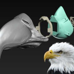Eagle.png Download free STL file COVID-19 Mask Cap, Bald Eagle Edition • 3D print design, Spazticus