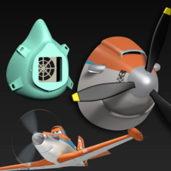 Impresiones 3D gratis Capuchón de la máscara COVID-19, edición de Dusty Crophopper, Spazticus