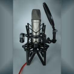 microphone_stand.png Download STL file Desktop Microphone Stand for Rode NT-1 • 3D printing object, nsb