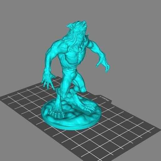 Download free 3D printer templates Howling werewolf, Doberman