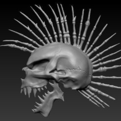 Download 3D printing models Mohawk Skull, D3DCreative