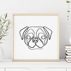 Pug Line Art copia.jpg Download STL file Pug line art • 3D print object, R3DI