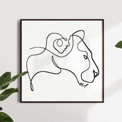 WOMAN and LION MOCKUP.jpg Download STL file WOMAN & LION LINE ART • 3D print design, R3DI