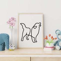 Simple Dog Line Art.jpg Télécharger fichier STL gratuit L'art de la ligne canine • Objet pour imprimante 3D, R3DI