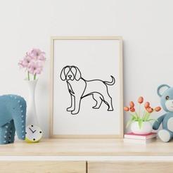 Simple Dog Line Art 2.jpg Télécharger fichier STL gratuit L'art de la ligne canine • Objet pour imprimante 3D, R3DI