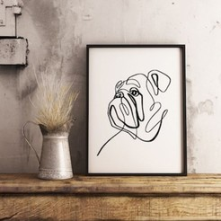 bulldog line art mockup copia.jpg Download STL file Bulldog Line Art • Model to 3D print, R3DI