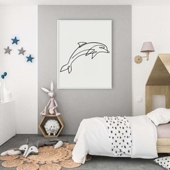 Dolphine Line Art Mockup.jpg Download STL file Dolphin line art • 3D printable template, R3DI