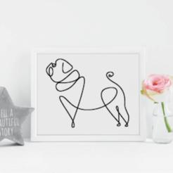 Pug Line Art II Mockup.png Download STL file Pug Line Art II • Design to 3D print, R3DI