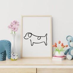 Dog Line Art MockUp.jpg Télécharger fichier STL gratuit L'art de la ligne canine • Objet pour imprimante 3D, R3DI