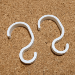 Download free STL file S Hook for Hand Rail / Grab Bar / Bathroom Handle • Design to 3D print, peaberry