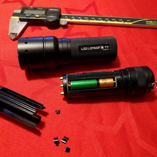 Download free STL file LED Lenser T7 Battery Pack Repair • Template to 3D print, peaberry