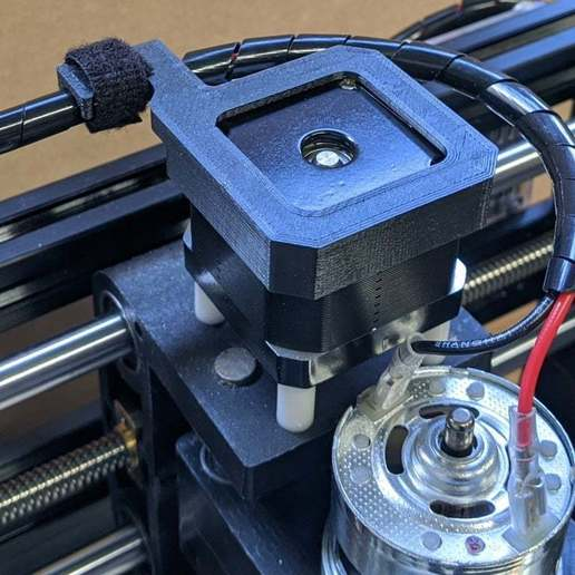 strain-relief01-mounted.jpg Download free STL file Cable Strain Relief for NEMA 17 Stepper / 3018 CNC Engraver • 3D printable model, peaberry
