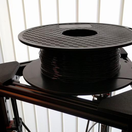 kossel_spool_support4.jpg Télécharger fichier STL gratuit Kossel Spool Top Mount pour le roulement des disques durs • Objet imprimable en 3D, peaberry