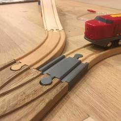 Download free STL files Wooden train track : Mini straight track Male Male (Brio / Ikea ...), Locorico
