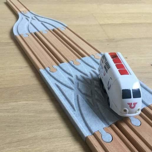 IMG_2620.jpg Télécharger fichier STL gratuit Aiguillage et croisement 3 voies pour train en bois (Brio, Ikea ...) • Modèle pour impression 3D, Locorico