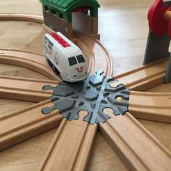 Download free 3D printing templates Wooden train track intersection : 8 ways (Brio / Ikea ...), Locorico