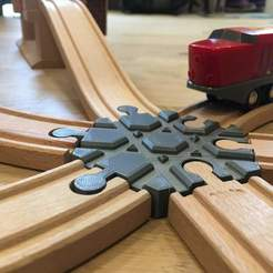 Download free 3D printing models Wooden train track intersection : 6 ways (Brio / Ikea ...), Locorico