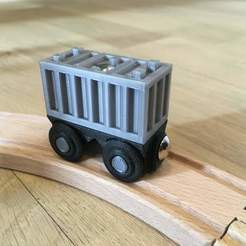 Download free STL file Wagon and container for wooden train • Object to 3D print, Locorico