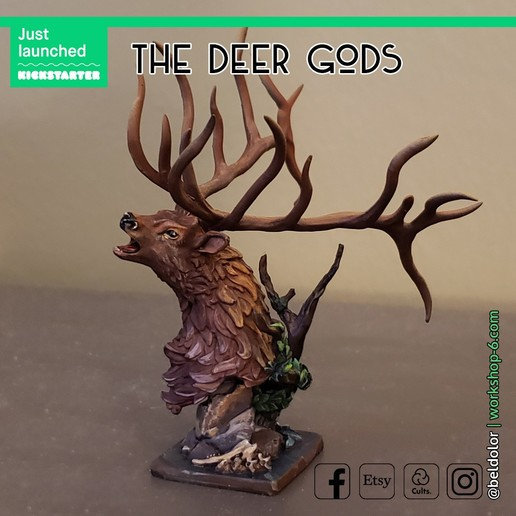 The_Deer_Gods.jpg Download free STL file The Deer Gods - Trophy Mount • 3D printing template, beldolor
