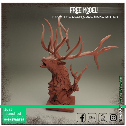 Free_Just_Launched.jpg Download free STL file The Deer Gods - Trophy Mount • 3D printing template, beldolor