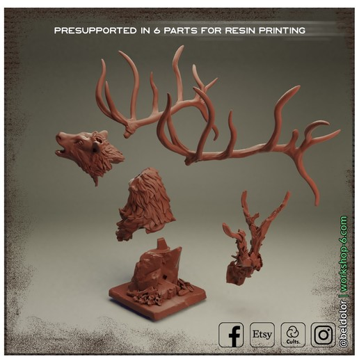 Free_Assembly.jpg Download free STL file The Deer Gods - Trophy Mount • 3D printing template, beldolor