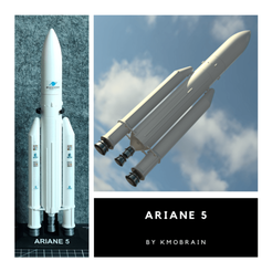 Download free STL files Ariane V Scale 1:200, Kmobrain