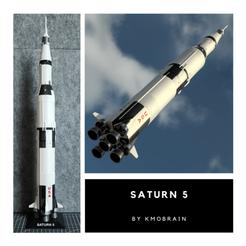 Download free 3D printer designs Saturn 5 Échelle 1:200 (Multi Pièces), Kmobrain