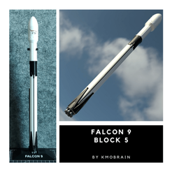 Falcon 9 block 5 Cults.png Download free STL file Falcon 9 Block 5 Scale 1:200 ( Multi parts) • 3D printer template, Kmobrain