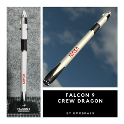 Download free 3D printer designs Falcon 9 Crew Dragon Scale 1:200 (Multi Parts), Kmobrain