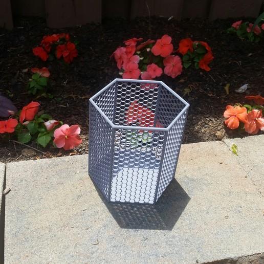Download free 3D printer templates Hex Trash Can, HundredAcreWeeds
