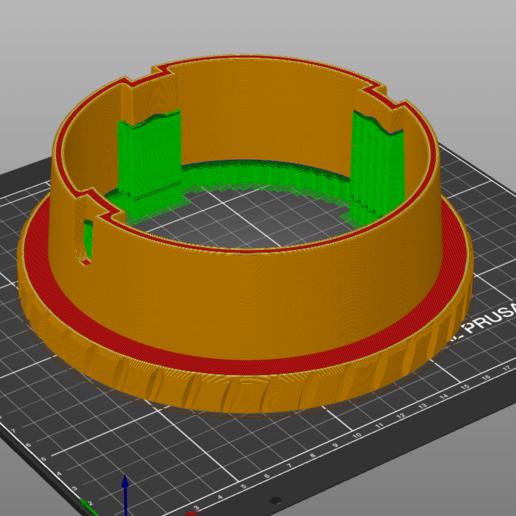 Turmschuh_grobfein_sliced.png Télécharger fichier 3MF gratuit Honda HS 622 / HS 655 / Schneefräse elektrische Kaminverstellung / support de goulotte sur mesure pour souffleuse à neige • Plan pour impression 3D, ohrenstoepsel