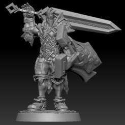 Télécharger STL Oelrik Stormsword Ecclésiaste demi-géant avec bouclier et grand sabre, Clute